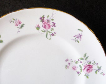 Crown Staffordshire Rose Bouquet VTG Plate Fine Bone China Pink Roses Accent Plate Replacement Hang on the Wall Afternoon Tea