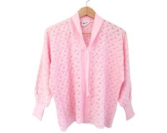 Vintage 70s Pastel Pink Knit Cardigan • Retro Zig-Zag Pattern • Dainty Tie Collar Quarter Sleeves Kitsch Sweater • M Medium Made in Britain