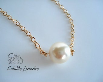 Single Floating Pearl Necklace in Gold, Simple One Pearl Necklace, Delicate Solitaire Pearl Necklace, Dainty Pearl Necklace Gift