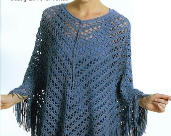 Crochet Shawl Pattern, Ponchos, Womens Ponchos Pattern - PDF Download