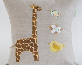 Children's Organic Linen Pillow Cover/ Giraffe With Birds/ Safari/ Natural Colours/ Sea Grass Green/ Soft Yellow/ Made To Order