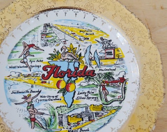 Vintage 1960s Souvenir Plate of Florida and Attractions by Capsco