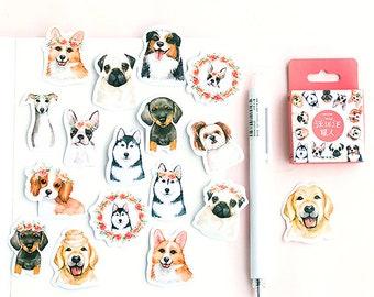 46 stickers 35mm kawaii dogs