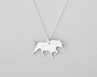 Bull Necklace, Bull Pendant, Charging Bull, Animal Necklace, Silver Jewelry