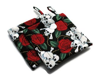Handmade Quilted Pot Holders set of 2 Heart Skulls Potholders