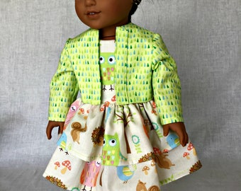 American Girl Handmade Woodland Print Dress & Jacket-AG 2 Piece Ensemble-fits the American Girl doll and similar 18 inch dolls