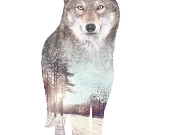 Wolf Animal Double Exposure Art Print - Faunascapes by WhatWeDo