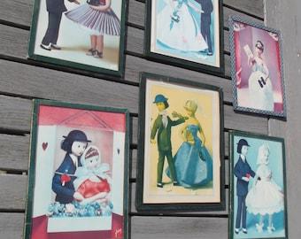 """6 petits cadres rétro """"Les amoureux de Peynet"""" - french frames lovers of Peynet"""