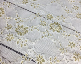 Petite Floral Stretch Lace Knit Fabric In Gold/ivory. Designer End Bolt