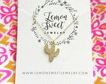 Cactus necklace -gold cacti necklace -boho charm necklace