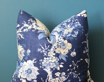 Blue Floral Pillow Cover - Blue Chinoiserie Pillow Cover - Blue and White Pillow Cover - Asian Floral Pillow - Blue Cushion - Traditional