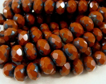 Czech Beads, 8x6mm Rondelle, Czech Glass Beads - Copper Brown Picasso (R8/N-0427), Reddish Brown Picasso Beads - Qty 12