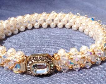 Swarovski Pearl and Crystal Bracelet with Jeweled Clasp
