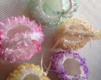 Hand knitted lace baskets
