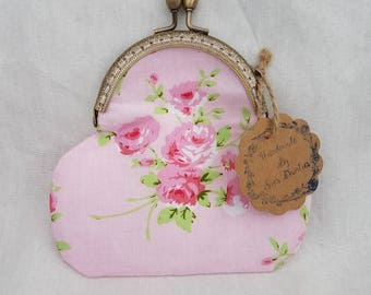 Pretty Pink Floral Rhinestone Kiss Clasp Purse/Kiss Clasp Coin Purse/Change Purse