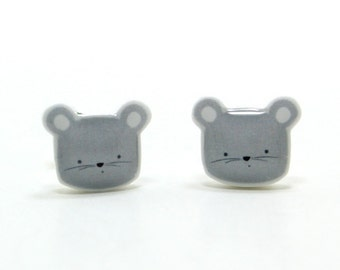 Tiny Gray Mouse Earrings | Sterling Silver Posts Studs | Gifts For Her