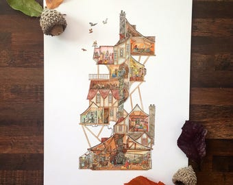 Harry Potter Print \\ A Perfect Day at the Burrow