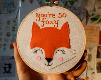 Embroidery Hoop Wall Art - You're so foxy