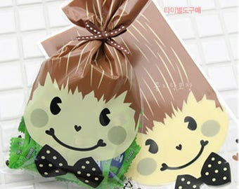 100pcs boy cookie candy packaging,open top bag,clear cellophane bag,wedding birthday christmas favor bag