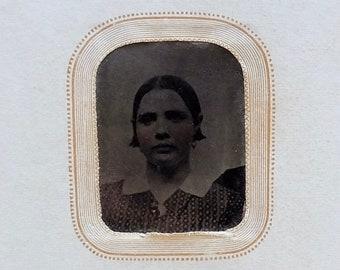 Vintage TinType Portrait Woman Paper Frame Photography Studio New London CT Miniature