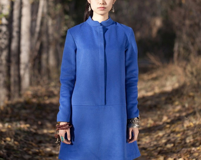 Long cashmere dress - Dress classic fall/winter - High collar - Long sleeves dress - Made to order