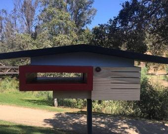 Mid Century Modern Split Level Birdhouse, Father's Day Gift, Anniversary Gift