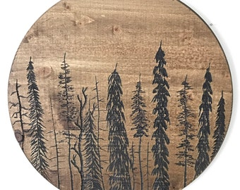 One of a kind hand carved tree forest hanging wood wall art 18 inches
