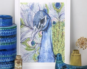 Grand Peacock watercolour and ink bird drawing, A3 giclée fine art print