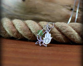 Sterling silver lotus and Hamsa hand necklace