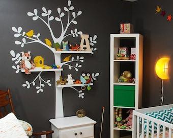 The ORIGINAL Shelving  Tree with Birds - LARGE  Kids Vinyl Wall Sticker Decal Art