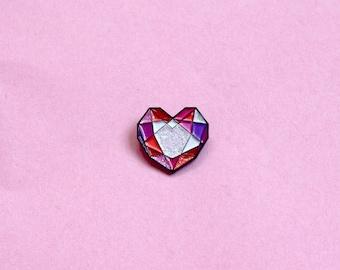 Heart Jewel Gem enamel pin // Pink & Iridescent glitter facets