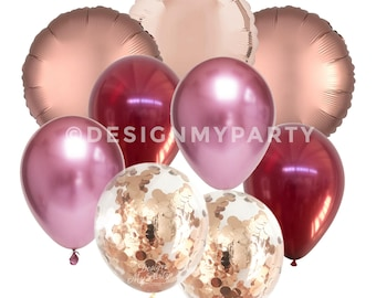 Passion Pop Glam Luxe Chrome Pink Burgundy, Rose Gold Copper Confetti Balloons DMP069