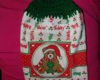 Holiday themed crochet top kitchen towel with teddy bear - ctm