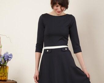 """Dress """"Elisa"""", with a round skirt in dark blue"""