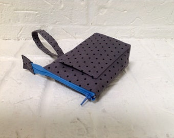 iTOVi Case / Water-Resistant iTOVi Bag / fabric zippered pouch for iTOVi / essential oils scanner pouch / small divided gray polkadot pouch