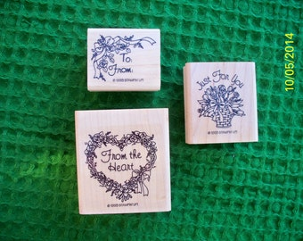 From the Heart, Just for You, To-From Set of Three Rubber Stamps for Gift Tags, Thank Yous, Cardmaking or Scrapbooking