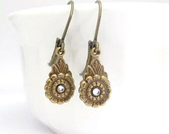Dainty Petite Dangle Earrings, Art Nouveau Earrings, Rhinestone Earrings, Art Deco Earrings, Bridesmaid Gift, Bridal Jewelry, Wedding