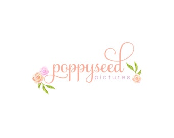 Custom Logo Premade Logo and Watermark Design Vintage Shabby Chic Watercolor Floral with Script Font