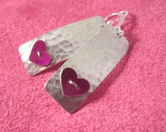 Textured aluminium heart earrings