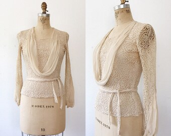 Vionnet lace blouse / 1930s lace blouse / vintage lace blouse