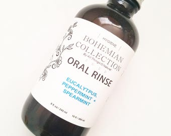 Eucalyptus, Peppermint, Spearmint ORAL MOUTH RINSE. Handcrafted. Mouthwash. Natural and organic ingredients. Mouth bath. Oral rinse