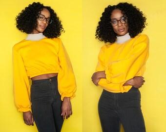 Curriculum Yellow Fleece Lined Puff Sleeve Cropped Sweatshirt XS S M L XL XXL