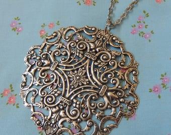 Huge Filigree Pendant Necklace