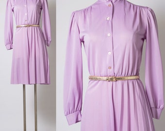 Vintage Dress, 70s Dress, Vintage Purple Dress, Purple Vintage Dress, Vintage pleated Dress, Vintage ruffle dress, 70s secretary dress - S/M