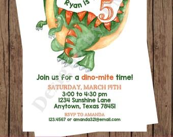 Custom PRINTED Watercolor Dinosaur Birthday Invitations - 1.00 each with envelope