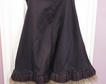 Sydney Bush Vintage Blue-Black Nylon Taffeta Ruffled Petticoat Slip 1950s, Skinner Taffeta, New With Tags