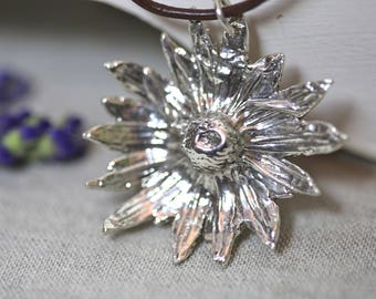 Blackeyed Susan necklace in fine silver, sterling and a greek leather strap