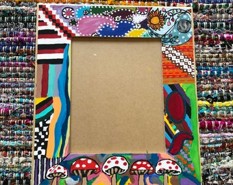 "Multicolored Psychedelic Wood Picture Frame 8"" x 10"""