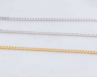 Sterling Silver or Gold Plated 2mm Curb Chain, Lightweight Chain, Chain Supplies, Choker Chain, Silver Curb,SCNF247