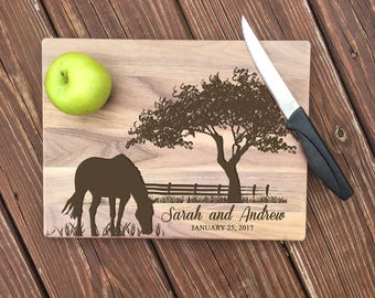 Horse Cutting Board, Equestrian Gift, Bridal Shower, Equine Kitchen Decor, Personalized Horse, Custom Cutting Board, Horses, Wedding Gift